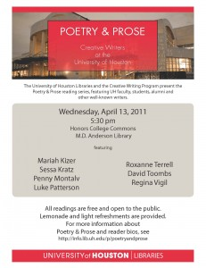 poetry and prose april 13 reading flyer
