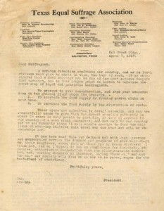 Food supply efforts letter from Minnie Fisher Cunningham to fellow members of the Texas Equal Suffrage Association. From University of Houston Special Collections.