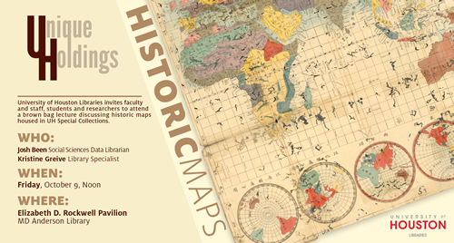 "Social sciences data librarian Josh Been and library specialist Kristine Greive will present ""Historic Maps"" housed in UH Special Collections."