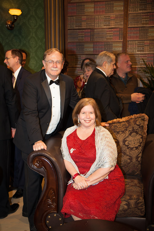 Dan Wells, dean of the College of Natural Sciences and Mathematics, with Lisa German, dean of the University Libraries.