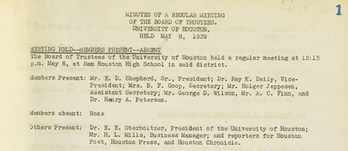 The Board of Regents Records collection is now available in the University of Houston Digital Library.