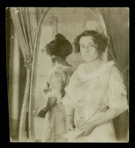 Leonor Villegas de Magnón in front of a mirror, 1895. From the Leonor Villegas de Magnón Papers.