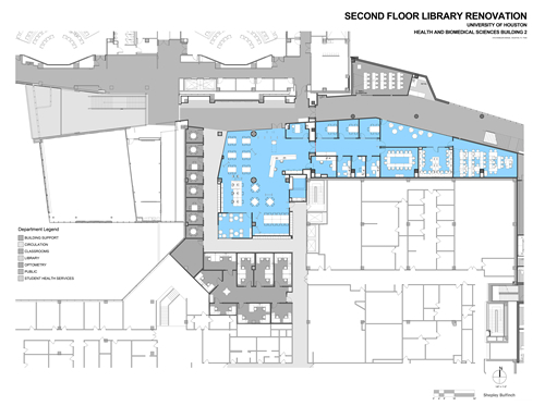 Plans for second floor library renovation in the forthcoming Health and Biomedical Sciences Building 2. Library is in blue.