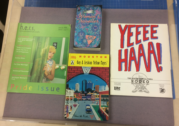 A sample of the LGBT Research Collection materials that will be on display at the Houston Pride Festival. Photo courtesy of Whitney Cox.