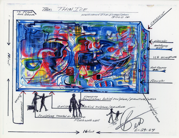 Photocopy of concept sketch for Thin Ice by Bert L. Long, Jr., 29 June 2004