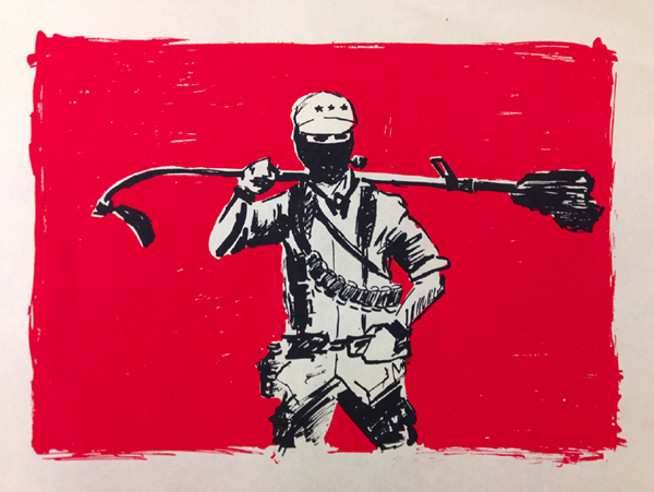 Subcomandante by artist Isaac Farley. Screenprint.