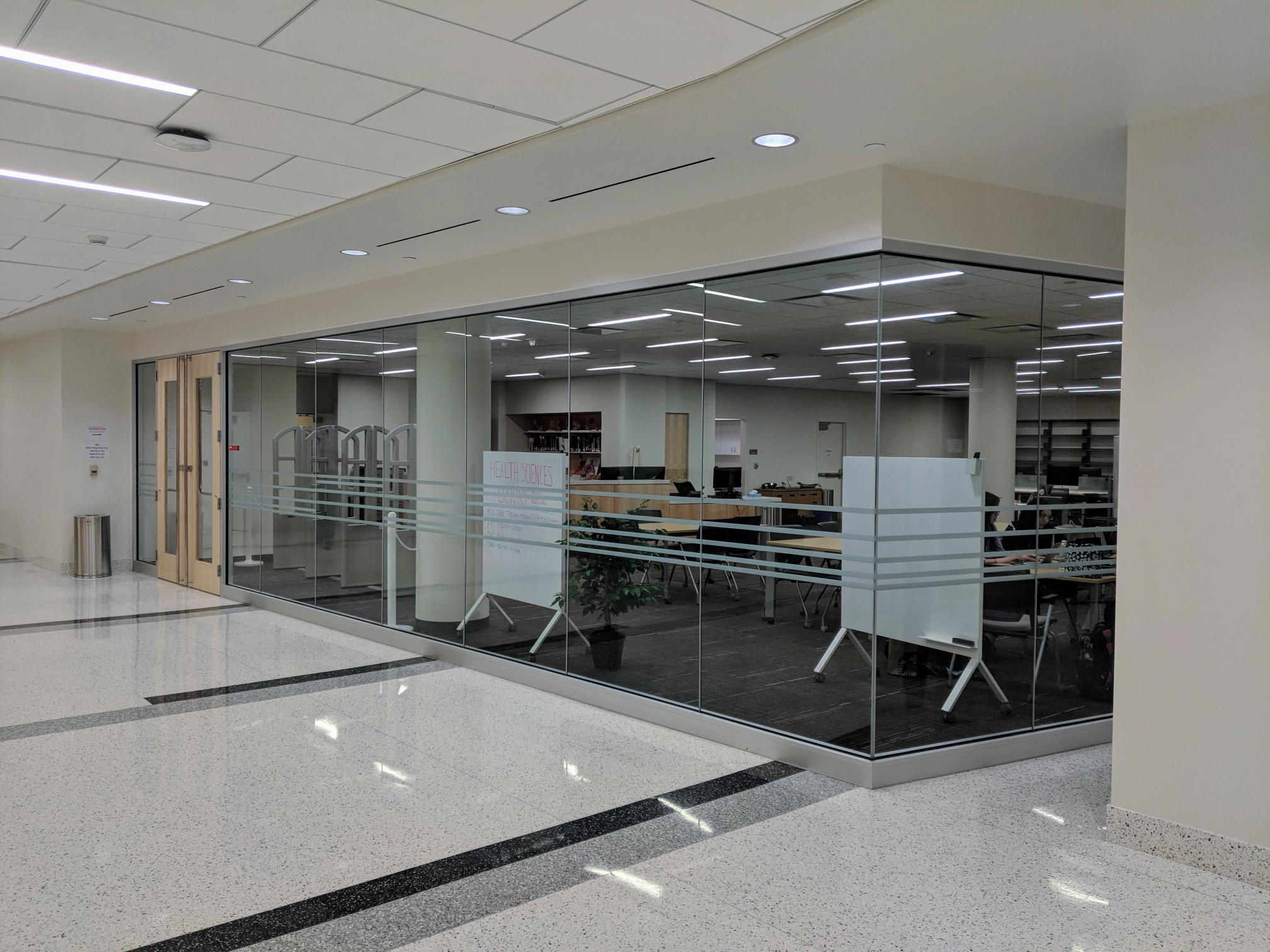 View of the Health Sciences Library from the hallway of Health 1 building
