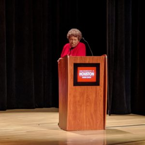 Dr. Joycelyn Elders standing at podium
