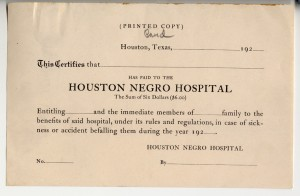 Houston Negro Hospital insurance card