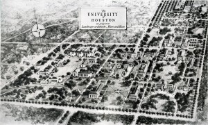 The University of Houston as proposed by the landscape architects Hare & Hare.