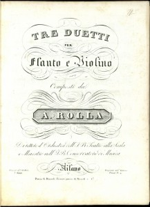 The title page of Tre duetti per flauto e violino, composed by Alessandro Rolla