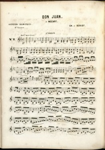Part 2 Violin, page 1, of Don Juan (de Mozart), composed by Charles de Bériot.