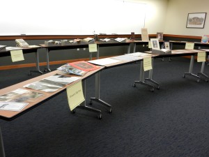 Materials on display for ARL Executive Director Elliott Shore's visit to Special Collections