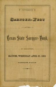 Program of events from 1885 Saenger-Fest