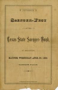 Program of events from 1885 Saenger-Fest