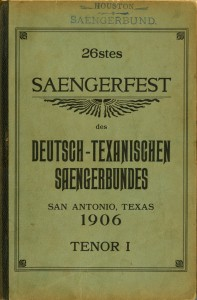 Houston Saengerbund 1906 Tenor I songbook