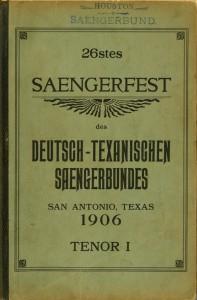 Houston Saengerbund 1906 Tenor I songbook