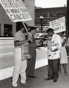 picketing against segregation (July 1960)