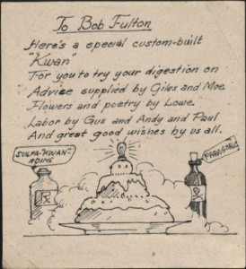 This handmade card was sent to Fulton by fellow POWs.