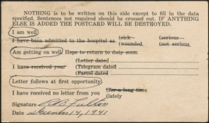 Fulton sent this postcard to his parents the week after the Japanese bombing of Pearl Harbor and the declaration of war on Japan by the Univted States.