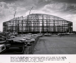The steel network for the translucent plastic dome is nearing completion (October 15, 1963)