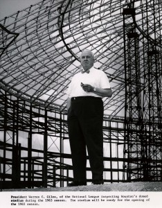 President Warren C. Giles of the National League inspecting Houston's domed stadium during the 1963 season.