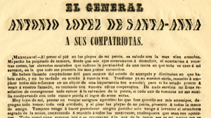 opening of message from Antonio López de Santa Anna to the Mexican people on his return from exile in Colombia, 1853 (from the Mexico Documents Collection)