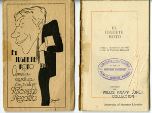 "cover and title page of ""El Juguete Roto"" by Facundo Recalde, 1925; from the Jones Latin American Drama Collection"