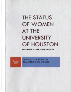 "title page of ""The Status of Women at the University of Houston,"" October 2007"