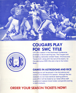 promotional material for the 1976 football season, from the Athletic Department Records, UH Special Collections