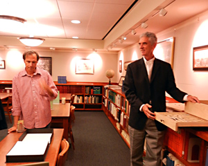 The Art Guys revisit The Codex of the Statue of the Four Lies in the Special Collections Reading Room