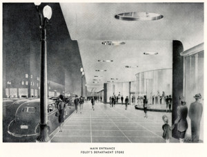 Architect's rendering of entrance to new Foley's store, c. 1940s