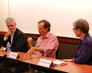 "Galbreth (left) looks on as Massing (center) responds to a question from Bozeman (right) during ""A Conversation with The Art Guys"""