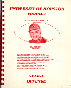 cover of Bill Yeoman's Veer-T Playbook, available for viewing in the University of Houston Special Collections Reading Room