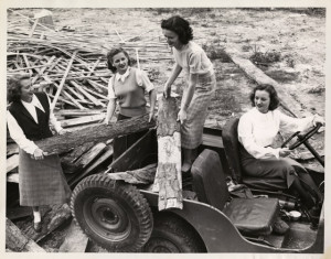 Homecoming Queen candidates at work on the homecoming bonfire (1949-1950)