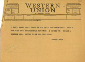Telegram from University President, General A.D. Bruce, from the President's Office Records