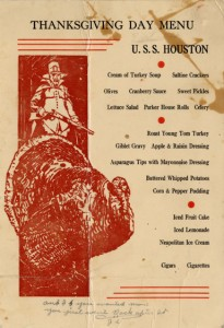undated Thanksgiving menu from the U.S.S. Houston, from the Cruiser Houston Collection