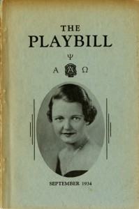 cover of The Playbill as published by Alpha Psi Omega in September 1934, from the Student Organization Records, University Archives
