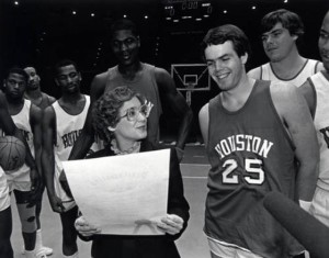 Mayor Kathy Whitmire and the Houston Cougar basketball team, available for high resolution download at our Digital Library