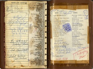 list of plays in the back of Nina Vance's 1960 week-at-a-glance notebook