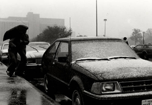 """""""Snow on the University of Houston Campus,"""" from the UH Digital Library"""