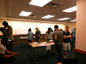 AAS 3301 students peruse items from the Houston Hip Hop Collection