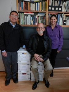 Archivist Vince Lee, Jeff Beauchamp, and personal assistant Kim Pence, overseeing the transfer of the Toni Beauchamp Papers