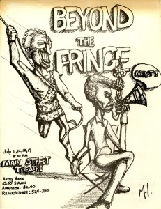 poster from Beyond the Fringe, one of Main Street Theater's earliest productions