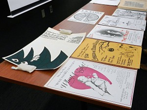 Production posters on display from the Main Street Theater Records