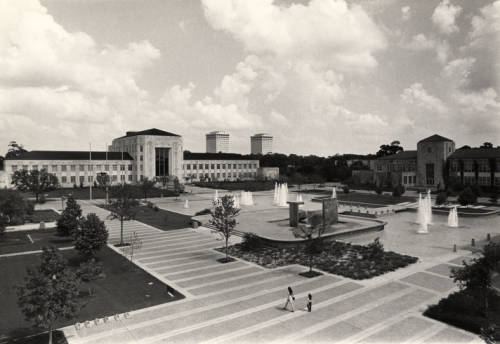 Cullen Family Plaza in the 1970s, shortly after its completion