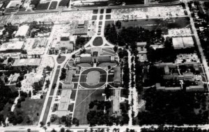 1967 aerial view shows UH buildings arranged around several formal axes [UH Photographs Collection]