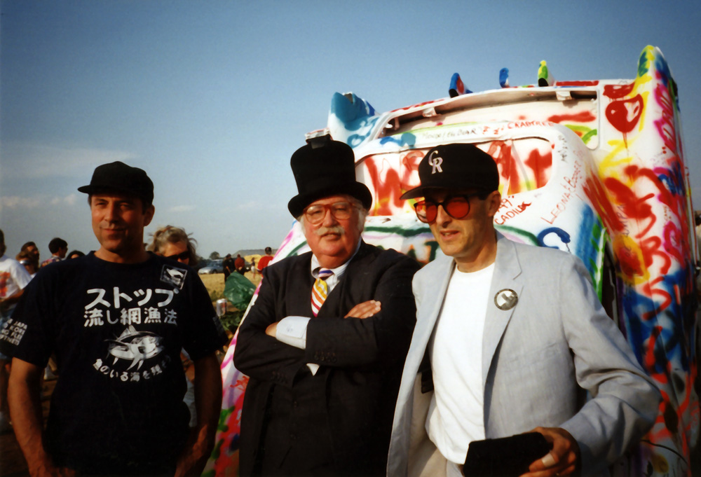 Doug Michels, Stanley Marsh 3, Chip Lord (L-R), Cadillac Ranch 20th Anniversary (1994), Photo Doug Michels Architectural Papers