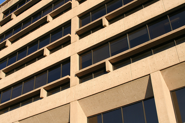 PGH Detail shows concrete fins, window mullions, and holes. Photo Eric E. Johnson by permission