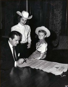 Gov. Allan Shivers signs the Fiesta City charter making it an official township in the state of Texas (1952)